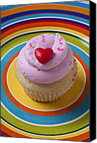 Cupcakes Canvas Prints - Pink cupcake with red heart Canvas Print by Garry Gay