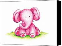 Holiday Drawings Canvas Prints - Pink Elephant On A Green Lawn Canvas Print by Anna Abramska