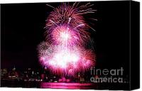 Independance Day Canvas Prints - Pink Fireworks At NYC Canvas Print by Archana Doddi