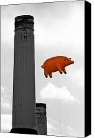Battersea Canvas Prints - Pink Floyds Pig Canvas Print by Dawn OConnor