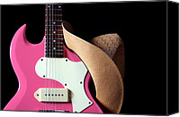 Combo Canvas Prints - Pink Guitar Hat Isolated Canvas Print by M K  Miller