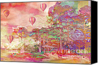 Hot Air Balloons Canvas Prints - Pink Hot Air Balloons Abstract Nature Pastels Canvas Print by Kathy Fornal