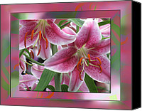 Lovely Looking Flower Mixed Media Canvas Prints - Pink Lily Design Canvas Print by Debra     Vatalaro