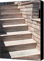 Staircase Canvas Prints - Pink Marble Staircase in Patmos Greece Canvas Print by Sabrina L Ryan