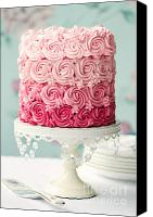 Cake-stand Canvas Prints - Pink ombre cake Canvas Print by Ruth Black
