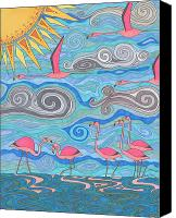 Pink Flamingo Drawings Canvas Prints - Pink Party Canvas Print by Pamela Schiermeyer