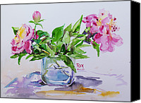 May Day Painting Canvas Prints - Pink Peony Canvas Print by Becky Kim