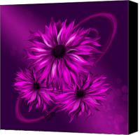 Airbrush Art Digital Art Canvas Prints - Pink Petals Canvas Print by Karla White