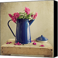 Rose Photography Canvas Prints - Pink Roses And Blue Jug Canvas Print by Copyright Anna Nemoy(Xaomena)