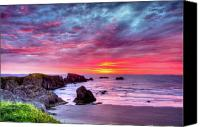 Vacation Canvas Prints - Pink Sunset Bandon Oregon Canvas Print by Connie Cooper-Edwards