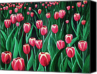 Green Canvas Prints - Pink Tulip Field Canvas Print by Anastasiya Malakhova