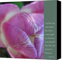 Pink Flower Canvas Prints - Pink Tulip with Anais Nin Quote Canvas Print by Heidi Hermes