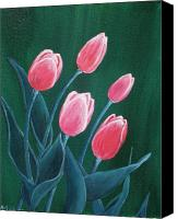 Flower Prints Greeting Cards Canvas Prints - Pink Tulips Canvas Print by Anastasiya Malakhova