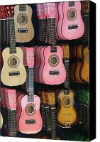 Pink Ukulele Canvas Prints - Pink Ukuleles Canvas Print by Kathy Dahmen