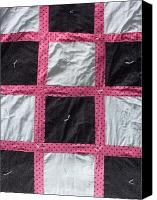 Pink Tapestries - Textiles Canvas Prints - Pink White and Black Dot Quilt Canvas Print by Brianna Emily Thompson
