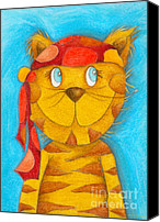 Tom Boy Canvas Prints - Pirate Cat Canvas Print by Sonja Mengkowski