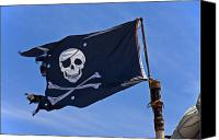 Waving Canvas Prints - Pirate flag skull and cross bones Canvas Print by Garry Gay