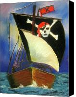 Skull Pastels Canvas Prints - Pirate Ship Canvas Print by Marita McVeigh