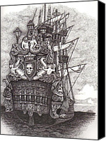 Mermaid Drawings Canvas Prints - Pirate ship Canvas Print by Tanya Crum