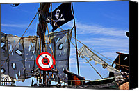 Waving Canvas Prints - Pirate ship with target Canvas Print by Garry Gay