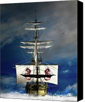 Ship Mixed Media Canvas Prints - Pirates Canvas Print by Bob Orsillo