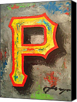 Pittsburgh Pirates Mixed Media Canvas Prints - PIRATES Portrait Canvas Print by Dan Haraga