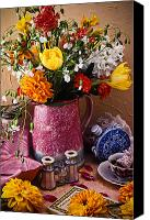 Blossoming Canvas Prints - Pitcher of flowers still life Canvas Print by Garry Gay