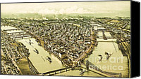 Birdseye Canvas Prints - Pittsburg Pennsylvania Canvas Print by Pg Reproductions