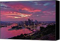 City Of Bridges Photo Canvas Prints - Pittsburgh Dawn Canvas Print by Jennifer Grover