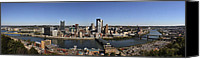 Steel City Canvas Prints - Pittsburgh Panoramic Canvas Print by Teresa Mucha