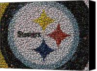 Bottle Caps Canvas Prints - Pittsburgh Steelers  Bottle Cap Mosaic Canvas Print by Paul Van Scott