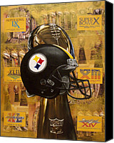 Bowl Canvas Prints - Pittsburgh Steelers Helmet - Super Bowl Champions Canvas Print by Ryan Jones