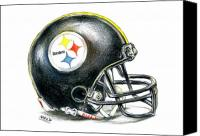Football Drawings Canvas Prints - Pittsburgh Steelers Helmet Canvas Print by James Sayer