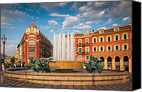 Architecture Photo Canvas Prints - Place Massena at Dusk Canvas Print by Inge Johnsson