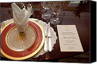 Michelle Obama Photo Canvas Prints - Place Setting Of The White House China Canvas Print by Everett