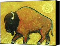 Buffalo Painting Canvas Prints - Plains Buffalo Canvas Print by Carol Suzanne Niebuhr