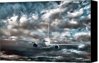 Stormy Canvas Prints - Plane in Storm Canvas Print by Olivier Le Queinec