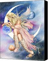 Colored Pencil Canvas Prints - Planets of the Universe Canvas Print by Johanna Pieterman