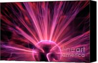 Plasma Photo Canvas Prints - Plasma ball making electric discharges from a central electrode Canvas Print by Sami Sarkis