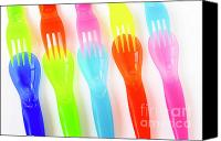 Dine Canvas Prints - Plastic Cutlery Canvas Print by Carlos Caetano
