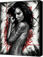 Tattoo Canvas Prints - Plata o Plomo Canvas Print by Pete Tapang