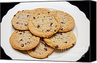Junk Canvas Prints - Plate of Chocolate Chip Cookies Canvas Print by Andee Photography
