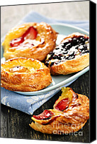 Eaten Canvas Prints - Plate of fruit danishes Canvas Print by Elena Elisseeva