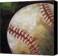 Mlb Painting Canvas Prints - Play Ball Canvas Print by Kristine Kainer