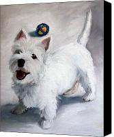 Westies Canvas Prints - Play Please Canvas Print by Mary Sparrow Smith
