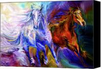 Williams Painting Canvas Prints - Playful Souls Canvas Print by Diane Williams