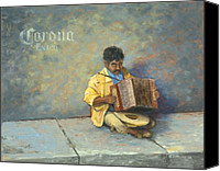 Accordion Canvas Prints - Playing for Pesos Canvas Print by Jerry McElroy