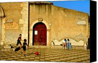 Taormina Canvas Prints - Playing in Taormina Canvas Print by Silvia Ganora