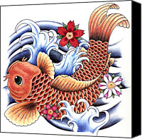 Flowers Drawings Canvas Prints - Playing Koi Canvas Print by Maria Arango