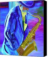 Sax Art Painting Canvas Prints - Playing the blues Canvas Print by Michael Lee
